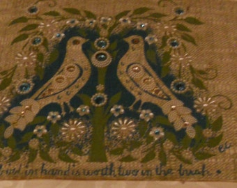 """Rare Enid Collins Purse Sample titled """"A bird in the hand is worth two in the bush"""""""