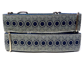 Martingale, Dog Collar, NAVY PORTHOLE, Safety Collar, Greyhound Collar, Sighthound Collar, Adjustable, Training Collar