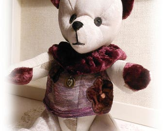 Violetta, bear collection in taupe fabric and purple