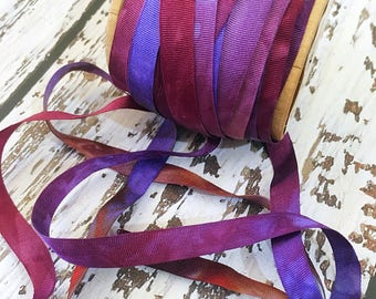 1 meter of 7 mm wide Hand Dyed Silk Ribbon for Embroidery and Needlecraft