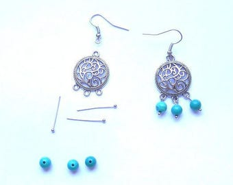 KIT CHANDELIER EARRINGS SILVER AND TURQUOISE STONE BEADS