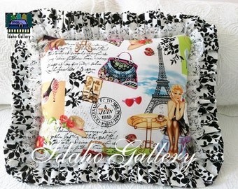 Bed Pillow Valentine Gift Eiffel Tower French Decor Pillow Paris Pinup Girl Retro Kitsch Style Romantic Ruffled Pillow Stuffed Decorative