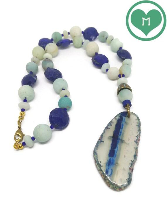 Natural Stones Necklace, Lapislazuli and Amazonite Necklace, Semiprecious Stones Necklace, Agate Slice Necklace, OOAK