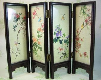Minature Byobu Japanese Folding Screen - 4 Panel Handpainted Silk