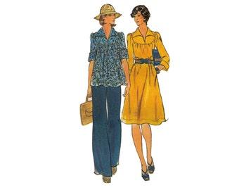 Butterick 4126, sewing pattern, size 10 women's A-line dress pattern, loose fitting, neckline slit, pants pattern