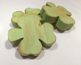 Wooden Shamrocks, Distressed  Wood Shamrocks, St Patricks Day Decor, Irish Clovers for St Paddys Day, Primitive Shamrocks