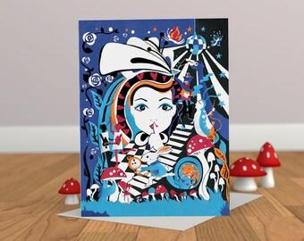 Wonderland Party Card - Alice in Wonderland Card - Alice in Wonderland Illustration - Teenagers Card