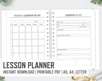 Lesson Planner / A4 A5 Letter / Teacher Planner Weekly Lesson Plan Detailed Lesson Plan School Printable Action Plan / INSTANT DOWNLOAD