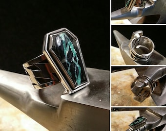 Sterling Lightning Ring with Royston Ribbon Turquoise