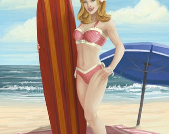 Wildwood, New Jersey - Surfing Pinup Girl - Lantern Press Artwork (Art Print - Multiple Sizes Available)