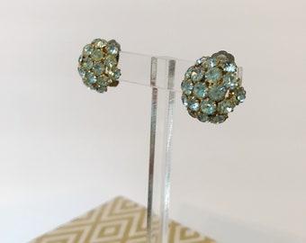 Vintage Blue Cluster 40's Earrings