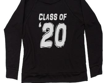Class of 2020 Graduation Slouchy Off Shoulder Oversized Sweatshirt