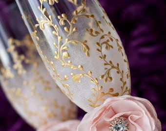 Personalized Wedding Flutes, Lace Gold Champagne Glasses, Crystal Toasting Flutes, Blush Pink Flowers, 50th Wedding Anniversary Gifts, Boho