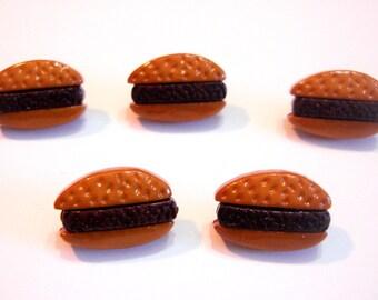Hamburger Buttons Galore Hamburger Set of 5 Shank Back - 264