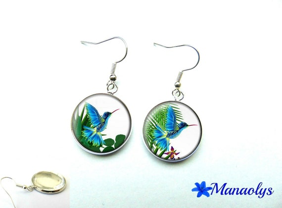 Blue exotic birds, 1115 glass cabochons earrings