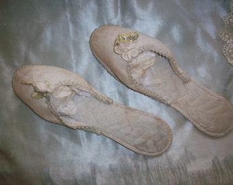 Antique ivory silk slippers/shoes with ribbon work