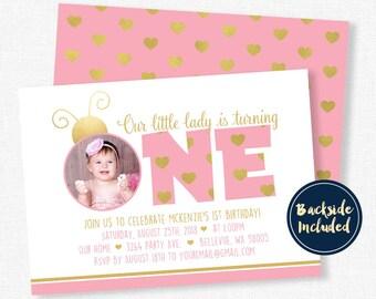Ladybug Birthday Invitation, Pink and Gold Invitation, Pink Ladybug Birthday, Ladybug Photo Invitation, Girl Birthday Invitation