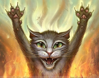 Crazy Cat // 11 X 14 Print // Hissing Cat  // Tabby Cat Painting // Cat Scratch Fever // Psycho Cat // Angry Cat