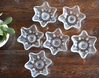 Six Point Star Candlestick Holders / Snowflake Clear Glass / Set of 6 vintage decor