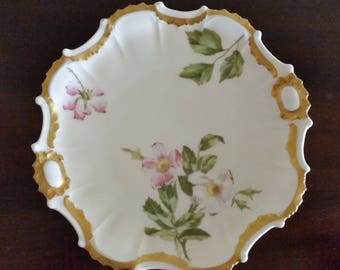Set of 5 Limoges Dessert Plates with Heavy Gold and Botanical Flowers