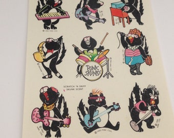 Hallmark Vintage Silly Scents Sniff Skunk Stickers 1980s 80s