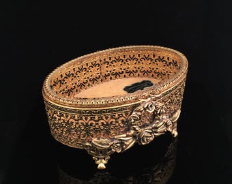 Vintage Jewelry Box Stylebuilt Gold Filigree Jewelry Box Antique Jewelry Box Ormolu Jewelry Box Tufted Jewelry Casket Jewelry Holder
