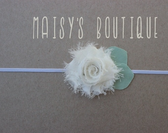 MINI Ivory Shabby Flower Headband/ Newborn Headband/ Baby Headband/ Flower Girl/ Wedding/ Photo Prop