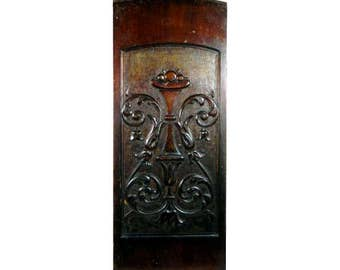19th Century Antique Mahogany Carved Panel Urn with Fruit