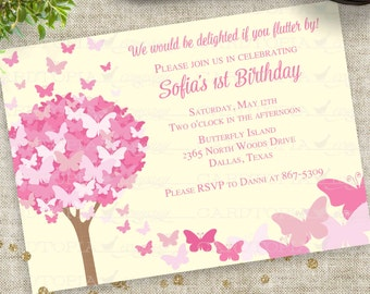 Butterfly Birthday Party Invitation with Pink and Yellow Personalized Custom Digital Printable File with Professional Printing Option