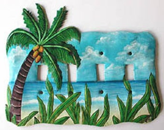 Tropical Coconut Tree, Toggle Light Switch Plate, Hand Painted Metal Switchplate, Switch-Plate Cover - Switch Plate Covers - S-1047-4