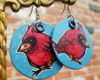 Cardinal painted charm earrings -Hand-Painted bird earrings Portland Oregon - L'il Lard Butt