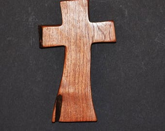 "Wooden Cross; Wall Cross-3.5""x5.5""x1"";One Only; Live Edge;Handcrafted; Texas Mesquite Wood;Christian Gift; Free Ground Shipping; cc5-1112917"