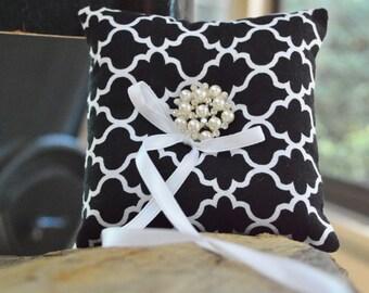Black and White Ring Bearer Pillow