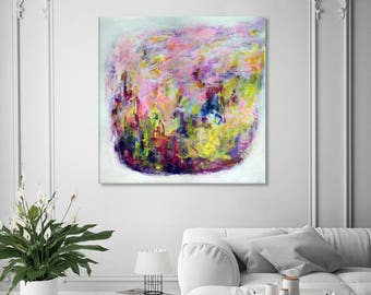 floral print Floral abstract painting Large abstract Yellow red green painting Flower painting Square print on canvas Garden print 273