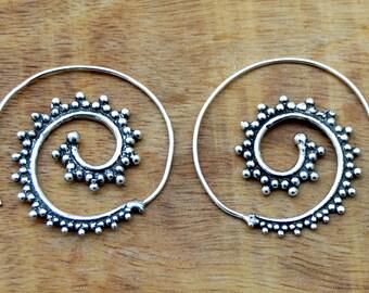 Gypsy Earrings, Spiral Silver Earrings, Tribal Earrings, Hoop Earrings, Gypsy Earrings, Boho Earrings, Silver Earrings, Ethnic Jewelry