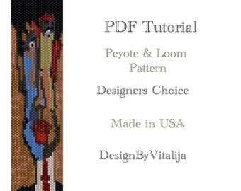 Instant Download Beading Pattern Peyote Stitch Loom Work Pattern  Daddy Face  Pattern Seed Bead Cuff