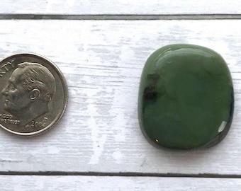 Natural Green Jade Cabochon   Stone cab   flat back stone   Genuine   Silversmith   supplies
