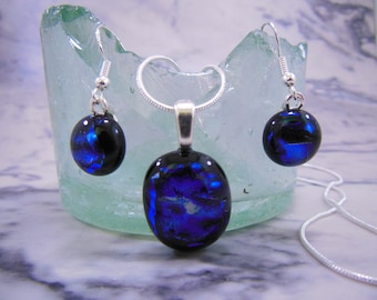 Handmade Blue on Black Fused Glass Jewellery Set Necklace and Earrings