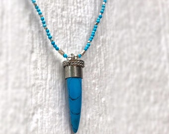 Turquoise Necklace - Howlite Gemstone Jewellery - Sterling Silver Jewelry - Spike Pendant
