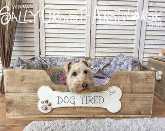 Handcrafted wooden dog bed, LARGE - exclooosive to the Wet Nosed Friends range!