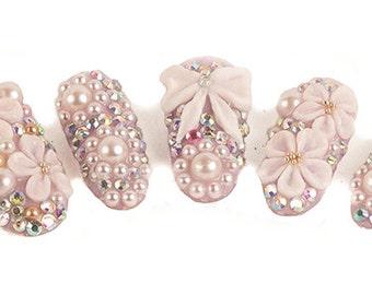 3D Princess UV Gel, Fake Nails, False Nails, Oval Nails, Press On Nails, Glue On Nails, Kawaii Nails, Cute Nails, Lolita Nails 3D Nails
