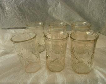 Five (5) Ball Juice jelly Jar Glass ~  50th Anniversary 1933-1983 Starburst ~  Plus Anchor Hocking Ball Glass