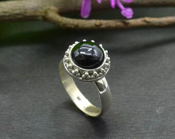 Natural Black Onyx Round Gemstone Ring 925 Sterling Silver R658