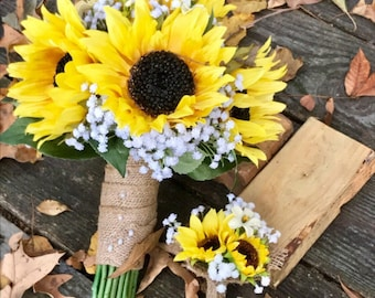 Sunflower baby's breath bridal bouquet