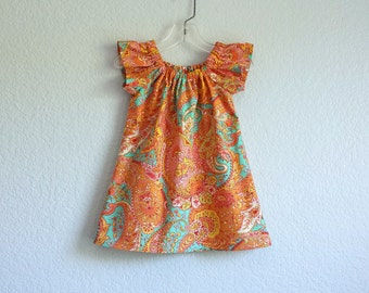 Little Girls Orange Flutter Sleeve Dress - Tangerine and Turquoise - Floral Dress with Paisley Print - Size 12m, 1m, 2T, 3T, 4T, 5, 6 or 8