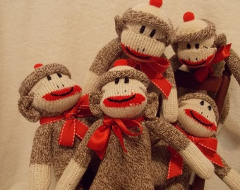 Handmade Pocket Sock Monkey Doll, Amigurumi Mini Monkey, Redheel Socks, Personalized, Limited Edition-Purse Size Monkey, Doll Toy