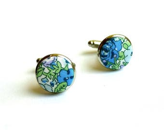Liberty fabric cufflinks blue support Amelie gold or silver option