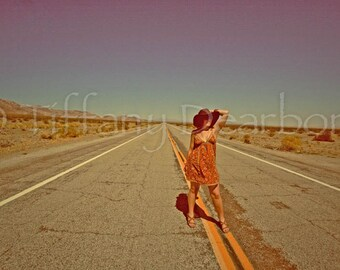 Queen of the Highway - Route 66 -  California - Mother Road - desert - hitchhiker pin up  fashion landscape self portrait - 8x10 matte print