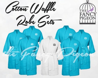 AQUA COTTON ROBES - Monogrammed Robe - Wedding Robes - Waffle Bridesmaid Robes - Bride Robe - Bridal Party Robe - Robes for Bridesmaids