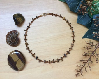 Tigers Eye || Beaded Crystal Choker Necklace